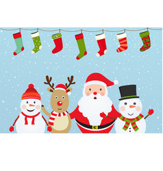 Christmas composition with santa claus snowman vector