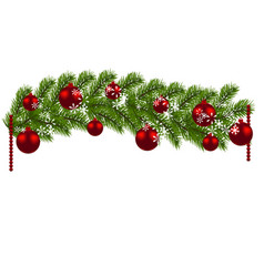 Christmas decoration green branches of a vector