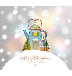 christmas greeting card with cute blue house in vector image
