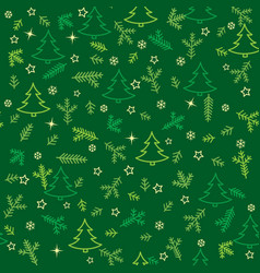 christmas seamless pattern with new year tree vector image