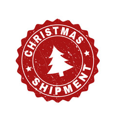 Christmas shipment scratched stamp seal with fir vector