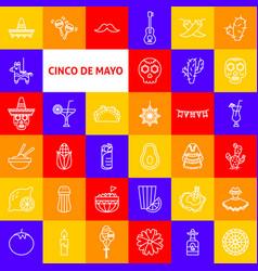cinco de mayo line icons vector image