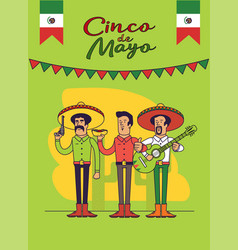 cinco de mayo poster design mexicans characters vector image
