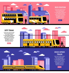 City Transportation Horizontal Banners vector