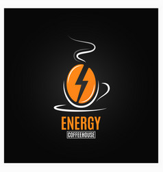 coffee bean logo coffee energy concept on black vector image