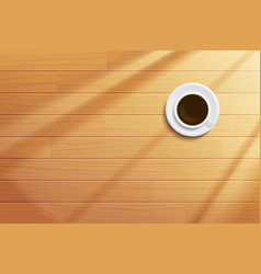 Coffee cup on wooden table top view vector