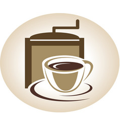 Coffee mill and cup emblem vector
