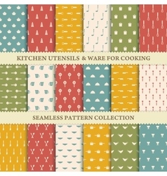 Collection of seamless backgrounds of kitchen vector image