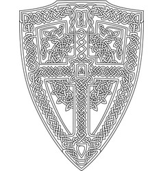 coloring book page with celtic shield vector image