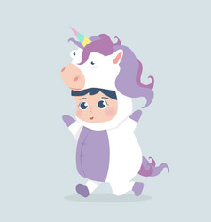 Cute girl unicorn costume cartoon vector