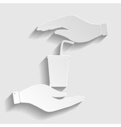 Drink sign Paper style icon vector image