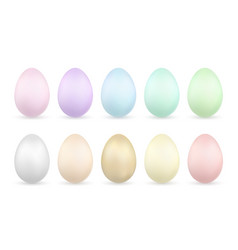 easter egg 3d icons gold color pastel eggs set vector image