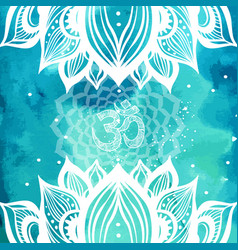 esoteric background with lotus and yoga symbols vector image
