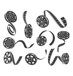 Film reel icons set isolated from vector