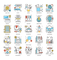 Flat Color Line Icons 11 vector image