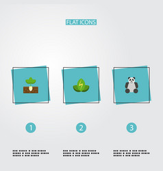 flat icons sprout eco energy bear and other vector image