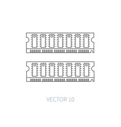 Flat line computer part icon random access vector