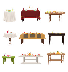 Flat set of different types of dining vector