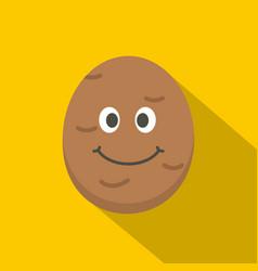 fresh smiling potato icon flat style vector image