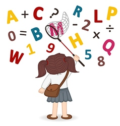 girl catches net of letters and numbers vector image