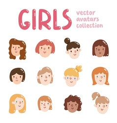 Girls colorful avatars collection vector image