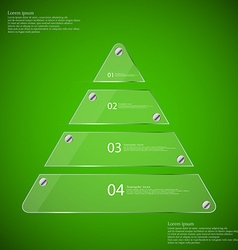 Glass triangle divided to four parts infographic vector
