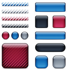 Glossy buttons and bars vector