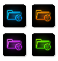 glowing neon download arrow with folder icon vector image