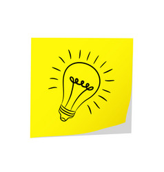 Great idea - post it yellow amp electric bulb on vector