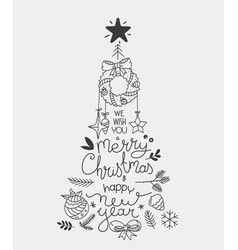 hand drawn christmas greeting card abstract vector image