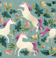Hand drawn vintage unicorn in magic forest vector