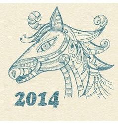 Hand drwan horse symbol of 2014 year vector