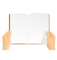 Hands holding a blank book vector