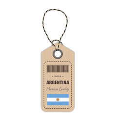 Hang tag made in argentina with flag icon isolated vector