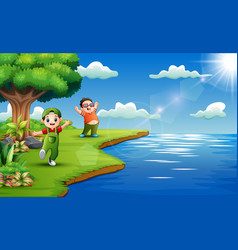 happy kids playing in the riverside vector image