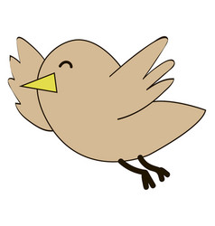 happy little bird on white background vector image