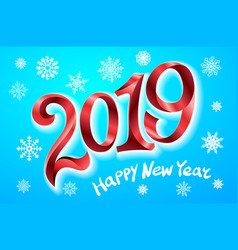 happy new year 2019 greeting card two thousand vector image