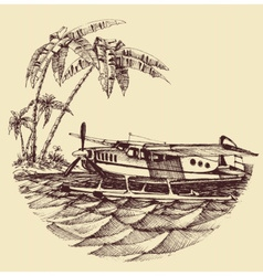 Hydroplane on sea vector