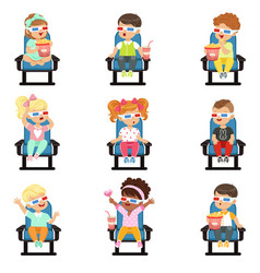 icons set of cute little children in 3d-glasses vector image