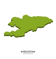 isometric map kyrgyzstan detailed vector image