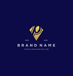 Letter p diamond gold logo design vector
