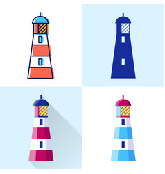 lighthouse icon set in flat and line styles vector image