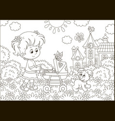 little girl with a toy baby buggy vector image