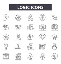 logic line icons signs set outline vector image