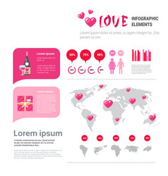 Love icons and elements over infographic template vector