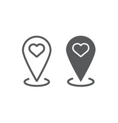 love location line and glyph icon love and gps vector image