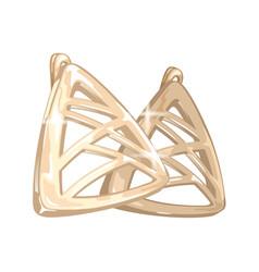 Modern golden triangle shape earrings vector
