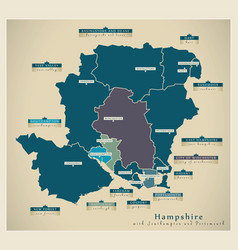 Modern map - hampshire county with details vector