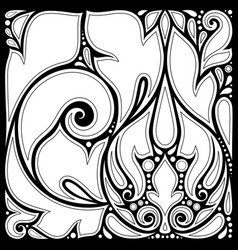 monochrome floral background in paisley garden vector image
