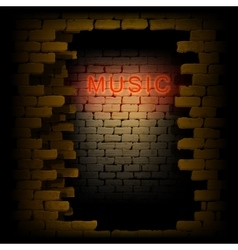 Music neon light in the doorway of brick wall uno vector